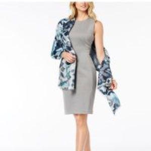 I.N.C. Metallic Jacquard Floral Evening Wrap Blue